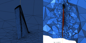 Figure 2: Final mesh of the M6 wing: surface of the wing (left) and cut through the volume mesh (right)