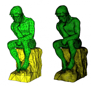 Figure 1: Initial (left) and final (right) meshes of the thinker of Rodin