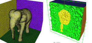Final cube mesh: Implicit surface mesh (left) and cut through the volume cube mesh (right)